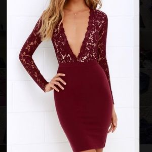 Lulus burgundy lace dress